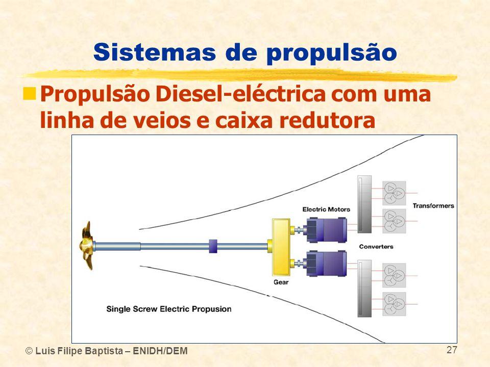 © Luis Filipe Baptista – ENIDH/DEM 27 Sistemas de propulsão Propulsão Diesel-eléctrica com uma linha de veios e caixa redutora