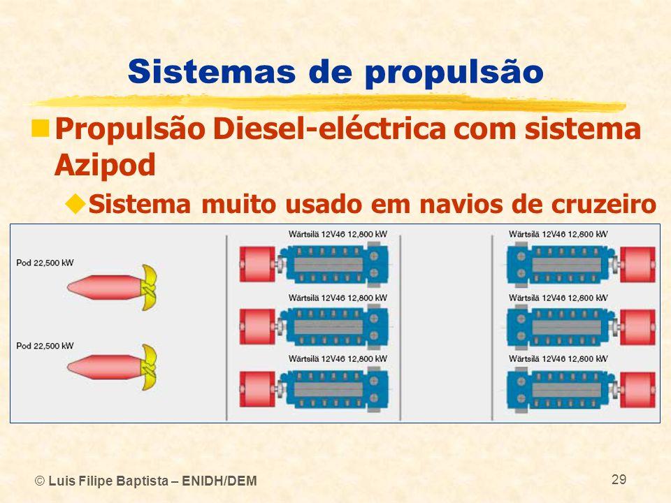 © Luis Filipe Baptista – ENIDH/DEM 29 Sistemas de propulsão Propulsão Diesel-eléctrica com sistema Azipod Sistema muito usado em navios de cruzeiro