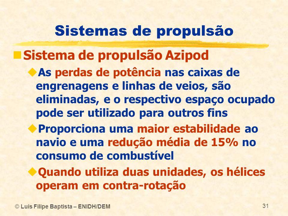 © Luis Filipe Baptista – ENIDH/DEM 31 Sistemas de propulsão Sistema de propulsão Azipod As perdas de potência nas caixas de engrenagens e linhas de ve