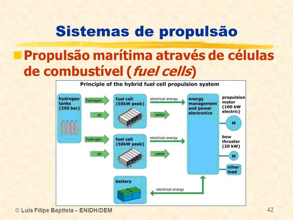 © Luis Filipe Baptista – ENIDH/DEM 42 Sistemas de propulsão Propulsão marítima através de células de combustível (fuel cells)