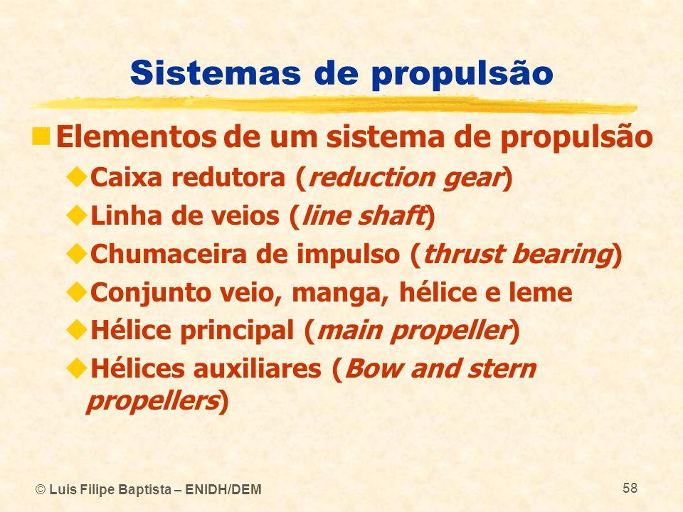© Luis Filipe Baptista – ENIDH/DEM 58 Sistemas de propulsão Elementos de um sistema de propulsão Caixa redutora (reduction gear) Linha de veios (line