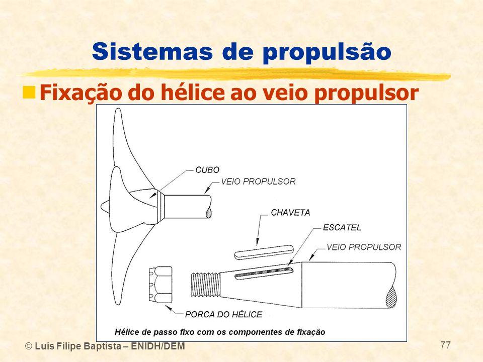 © Luis Filipe Baptista – ENIDH/DEM 77 Sistemas de propulsão Fixação do hélice ao veio propulsor