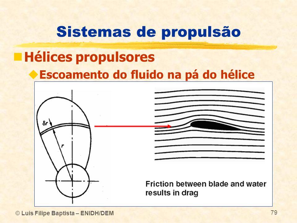 © Luis Filipe Baptista – ENIDH/DEM 79 Sistemas de propulsão Hélices propulsores Escoamento do fluido na pá do hélice