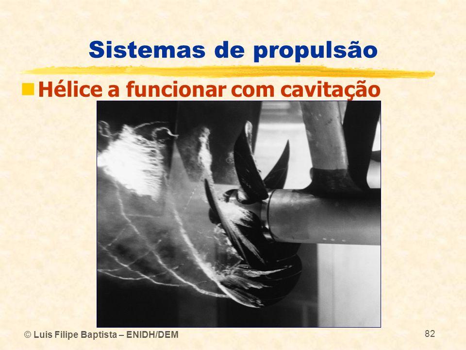 © Luis Filipe Baptista – ENIDH/DEM 82 Sistemas de propulsão Hélice a funcionar com cavitação