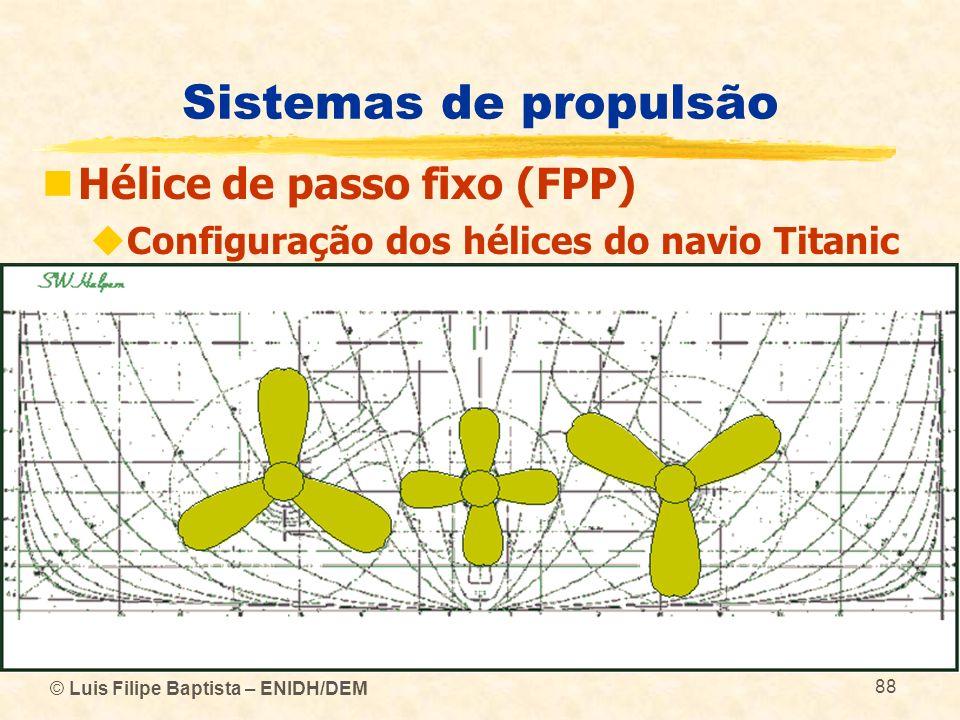 © Luis Filipe Baptista – ENIDH/DEM 88 Sistemas de propulsão Hélice de passo fixo (FPP) Configuração dos hélices do navio Titanic