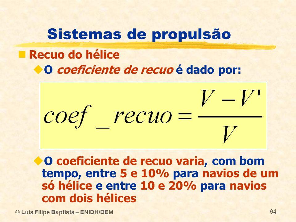 © Luis Filipe Baptista – ENIDH/DEM 94 Sistemas de propulsão Recuo do hélice O coeficiente de recuo é dado por: O coeficiente de recuo varia, com bom t