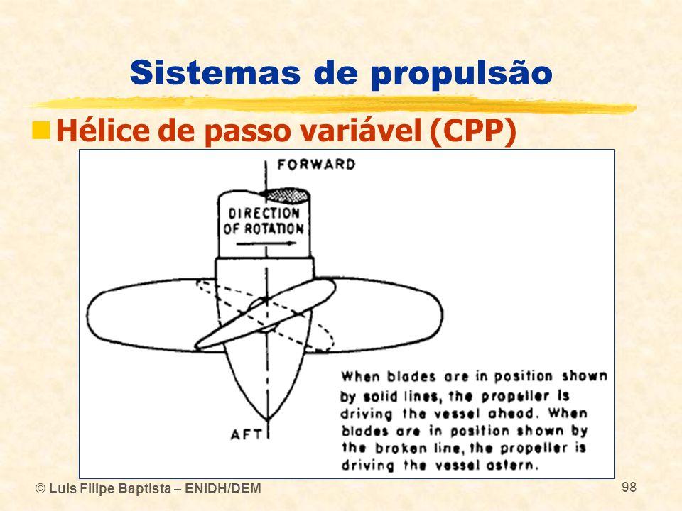 © Luis Filipe Baptista – ENIDH/DEM 98 Sistemas de propulsão Hélice de passo variável (CPP)