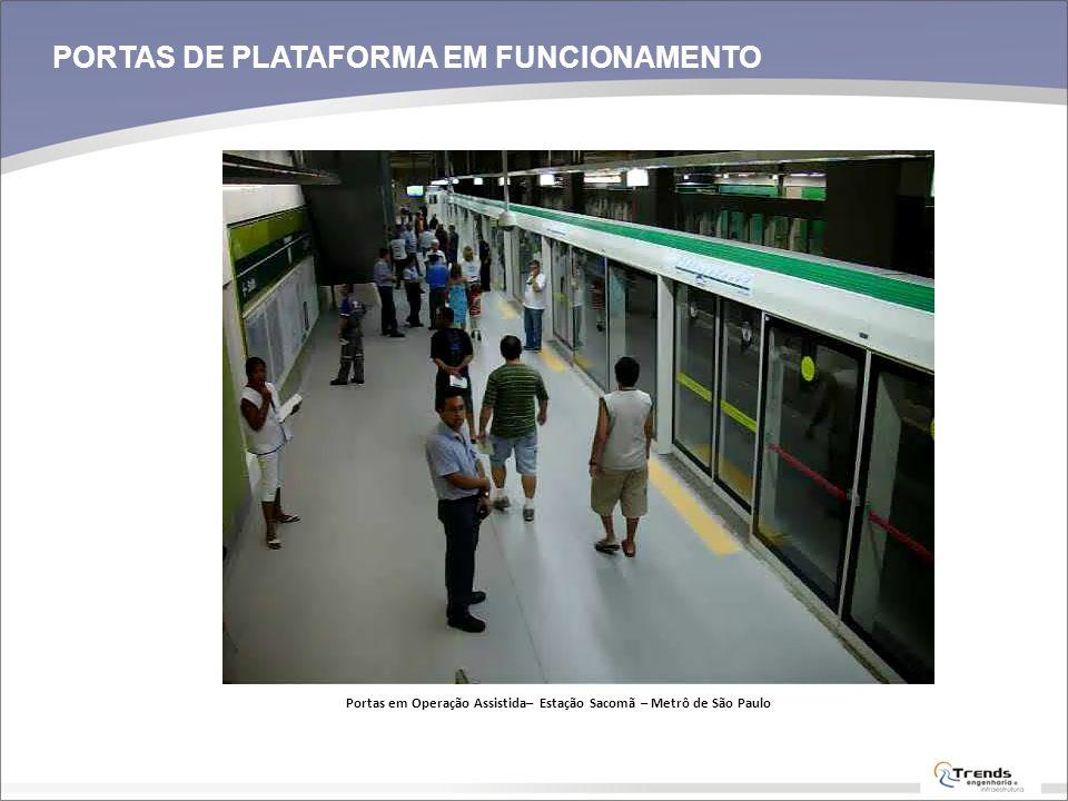 PORTAS DE PLATAFORMA EM FUNCIONAMENTO Portas em Operação Assistida– Estação Sacomã – Metrô de São Paulo