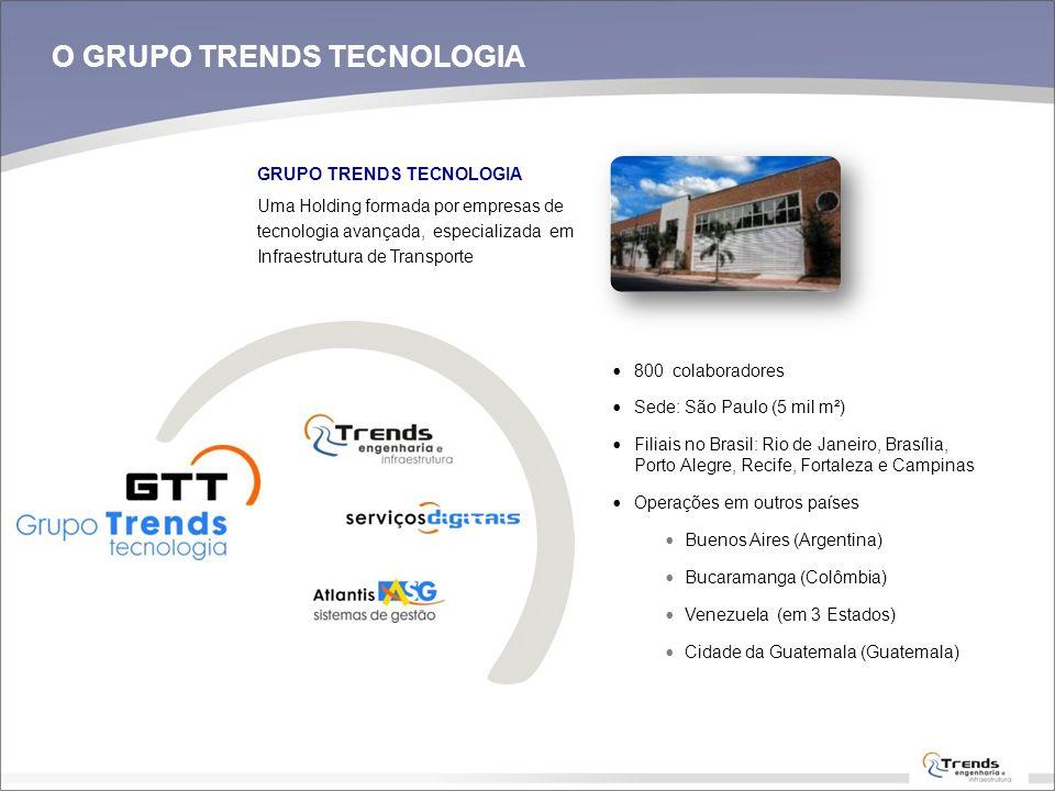 GRUPO TRENDS TECNOLOGIA Uma Holding formada por empresas de tecnologia avançada, especializada em Infraestrutura de Transporte 800 colaboradores Sede: