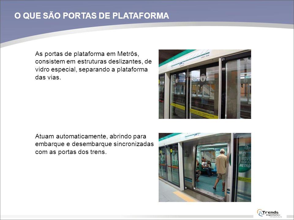 O QUE SÃO PORTAS DE PLATAFORMA As portas de plataforma em Metrôs, consistem em estruturas deslizantes, de vidro especial, separando a plataforma das v
