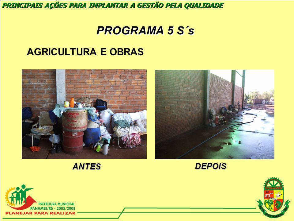 EDUCAÇÃO ANTES DEPOIS PRINCIPAIS AÇÕES PARA IMPLANTAR A GESTÃO PELA QUALIDADE PROGRAMA 5 S´s