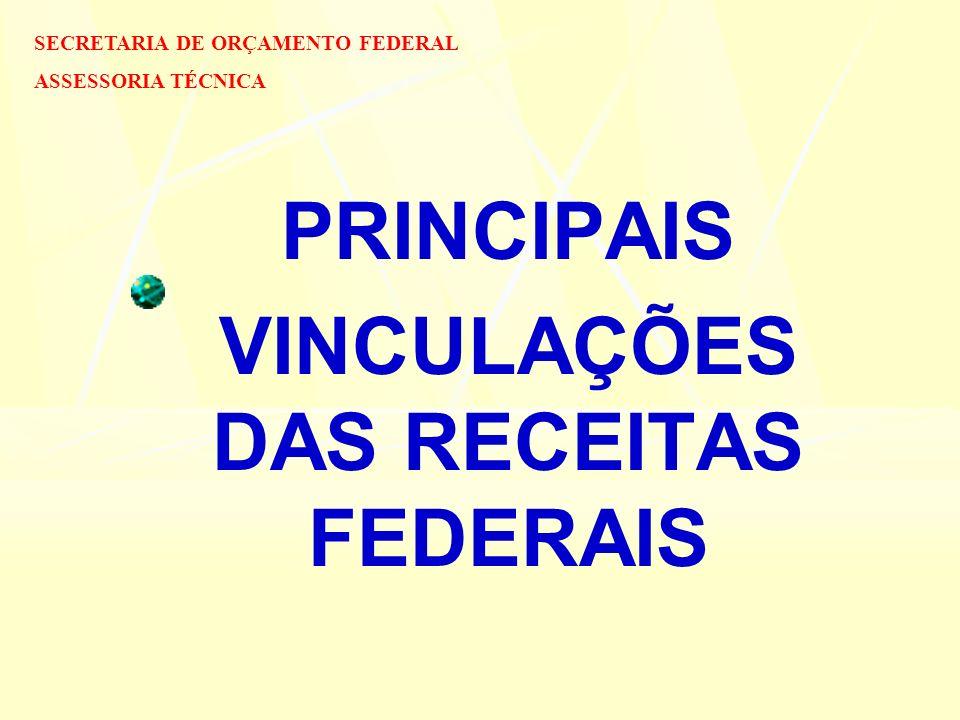 PRINCIPAIS VINCULAÇÕES DAS RECEITAS FEDERAIS SECRETARIA DE ORÇAMENTO FEDERAL ASSESSORIA TÉCNICA