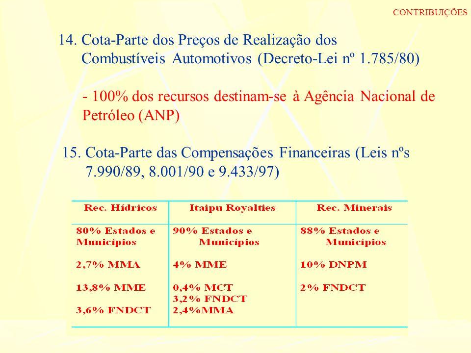 14. Cota-Parte dos Preços de Realização dos Combustíveis Automotivos (Decreto-Lei nº 1.785/80) - 100% dos recursos destinam-se à Agência Nacional de P