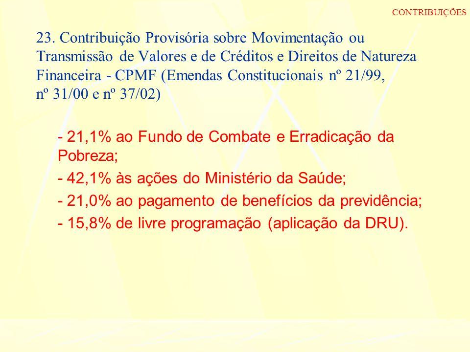 23. Contribuição Provisória sobre Movimentação ou Transmissão de Valores e de Créditos e Direitos de Natureza Financeira - CPMF (Emendas Constituciona
