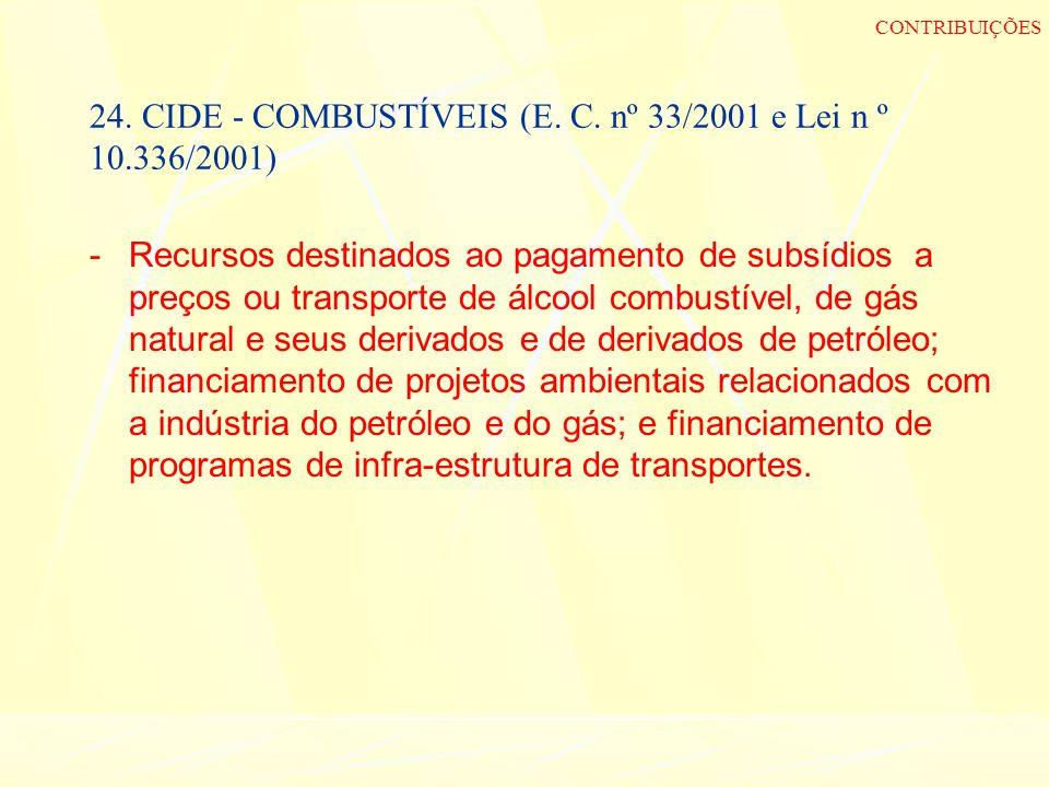 24. CIDE - COMBUSTÍVEIS (E. C. nº 33/2001 e Lei n º 10.336/2001) -Recursos destinados ao pagamento de subsídios a preços ou transporte de álcool combu