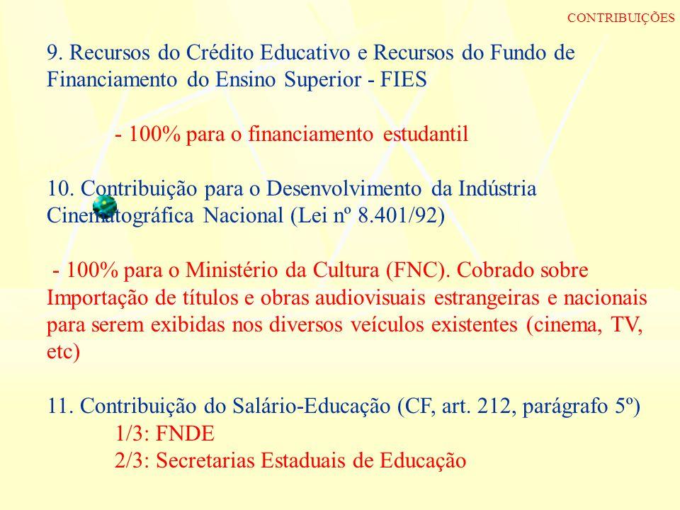 9. Recursos do Crédito Educativo e Recursos do Fundo de Financiamento do Ensino Superior - FIES - 100% para o financiamento estudantil 10. Contribuiçã