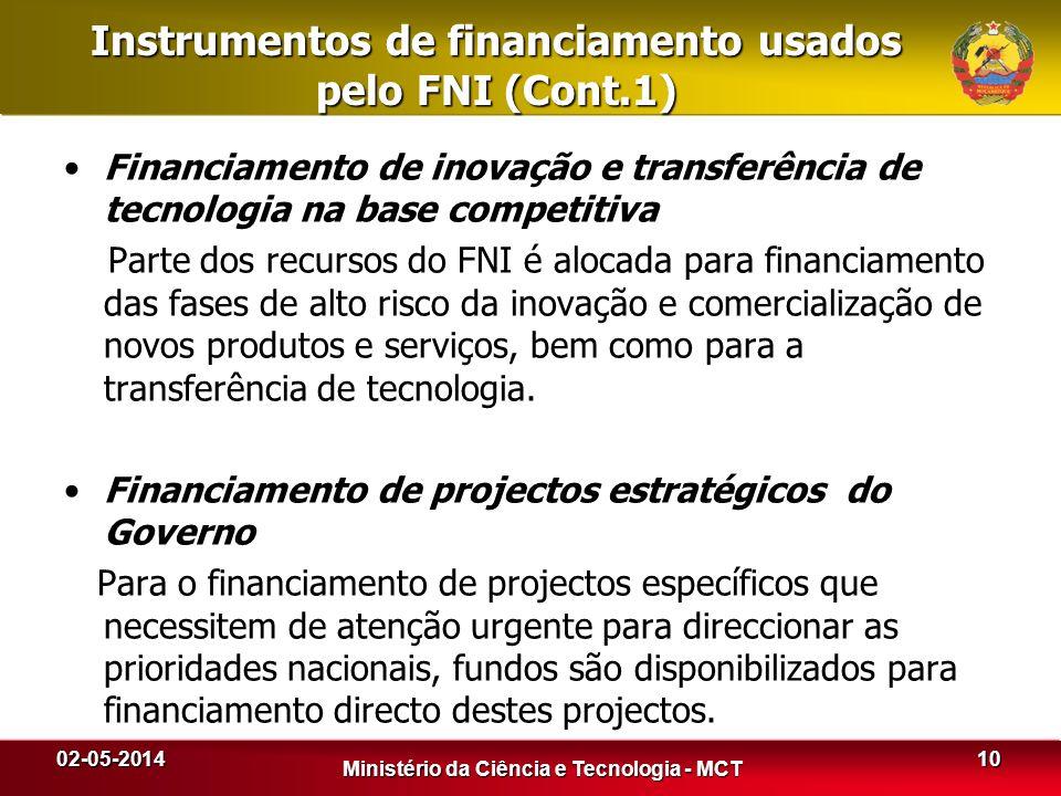 Instrumentos de financiamento usados pelo FNI (Cont.1) Financiamento de inovação e transferência de tecnologia na base competitiva Parte dos recursos