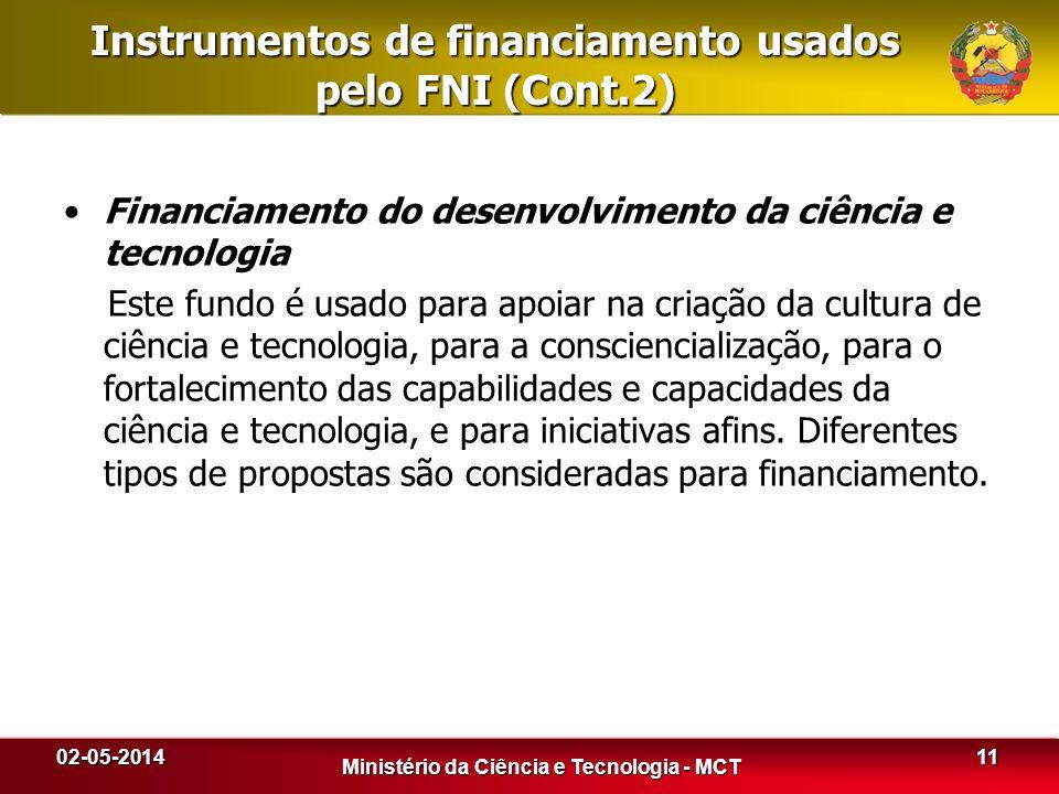 Instrumentos de financiamento usados pelo FNI (Cont.2) Financiamento do desenvolvimento da ciência e tecnologia Este fundo é usado para apoiar na cria