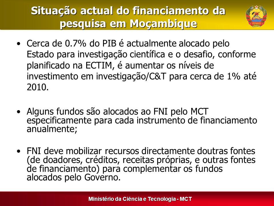 Ministério da Ciência e Tecnologia - MCT Situação actual do financiamento da pesquisa em Moçambique Cerca de 0.7% do PIB é actualmente alocado pelo Es