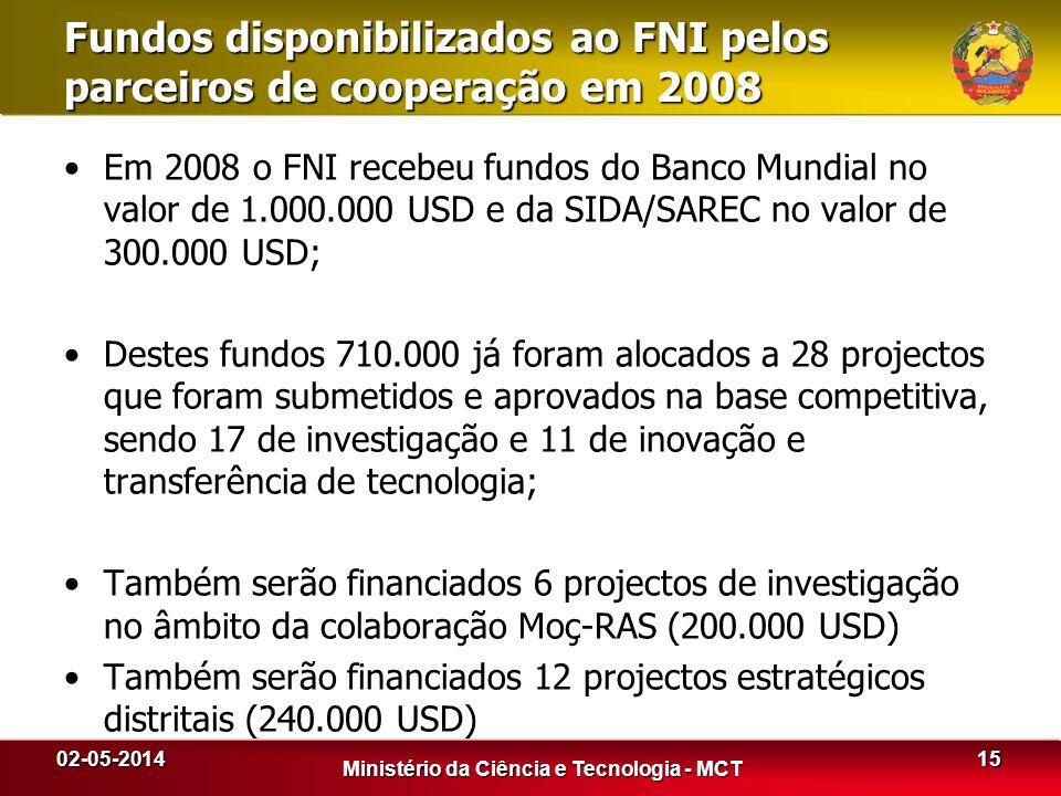 Em 2008 o FNI recebeu fundos do Banco Mundial no valor de 1.000.000 USD e da SIDA/SAREC no valor de 300.000 USD; Destes fundos 710.000 já foram alocad