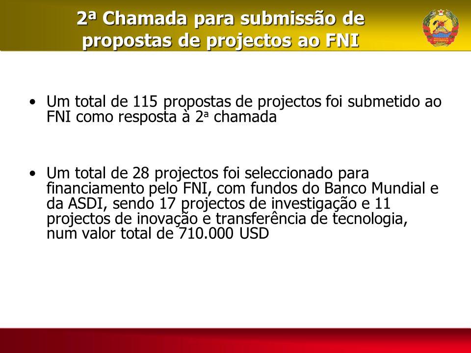 2ª Chamada para submissão de propostas de projectos ao FNI Um total de 115 propostas de projectos foi submetido ao FNI como resposta à 2 a chamada Um