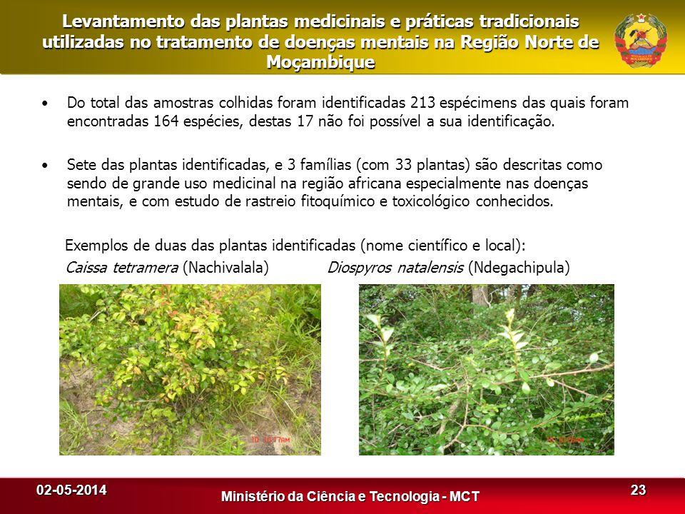 Levantamento das plantas medicinais e práticas tradicionais utilizadas no tratamento de doenças mentais na Região Norte de Moçambique Do total das amo