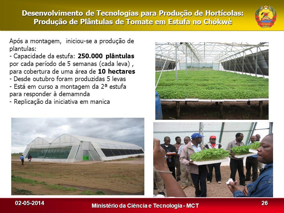 Desenvolvimento de Tecnologias para Produção de Hortícolas: Produção de Plântulas de Tomate em Estufa no Chókwè 02-05-2014 Ministério da Ciência e Tec