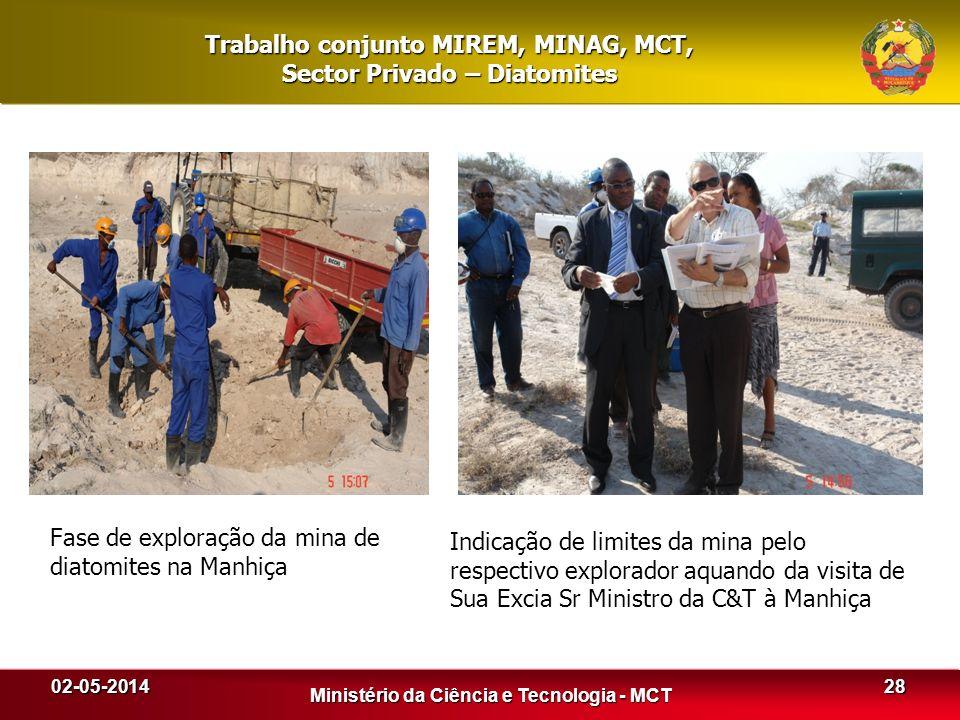 02-05-2014 Ministério da Ciência e Tecnologia - MCT 28 Trabalho conjunto MIREM, MINAG, MCT, Sector Privado – Diatomites Fase de exploração da mina de