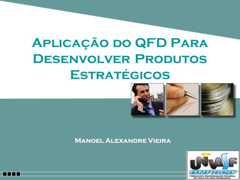 Manoel Alexandre Vieira Referências http://www.producao.ufrgs.br/arquivos/disciplinas/1 23_qfd_software.pdf http://www.inatel.br/docentes/leovani/download/G uimar http://www.12manage.com/methods_akao_quality_func tion_deployment_pt.html http://www.dcc.ufmg.br/~clarindo/pesquisa/gestus/ proptnilma.pdf