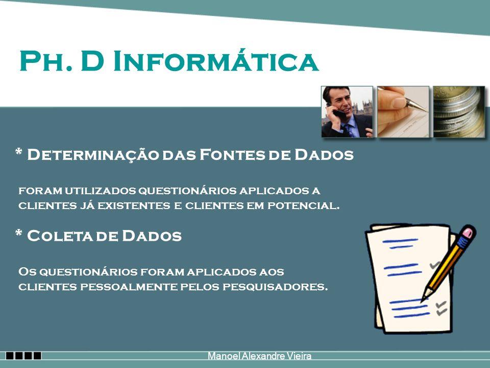 Manoel Alexandre Vieira Ph. D Informática * Determinação das Fontes de Dados foram utilizados questionários aplicados a clientes já existentes e clien