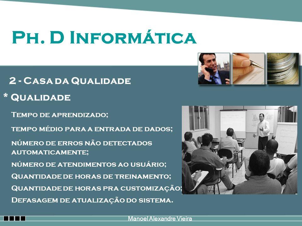 Manoel Alexandre Vieira Ph. D Informática 2 - Casa da Qualidade * Qualidade Tempo de aprendizado; tempo médio para a entrada de dados; número de erros