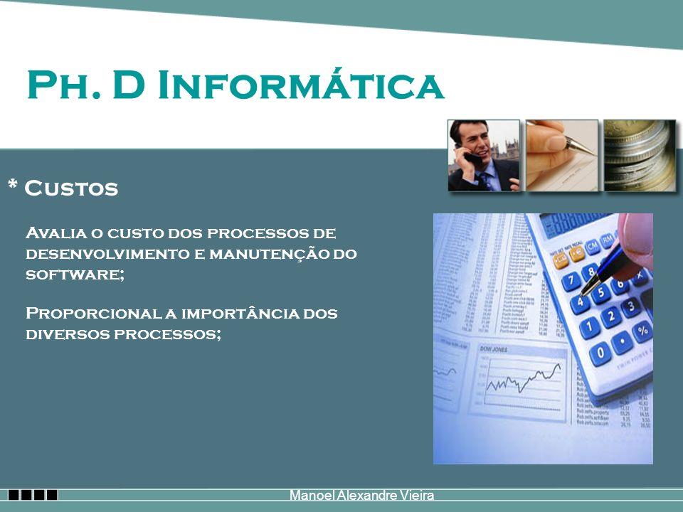 Manoel Alexandre Vieira Ph. D Informática * Custos Avalia o custo dos processos de desenvolvimento e manutenção do software; Proporcional a importânci