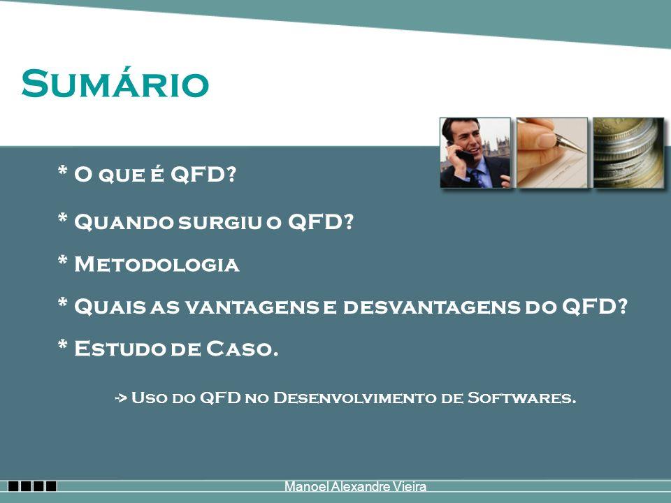 Sumário * O que é QFD? * Quando surgiu o QFD? * Quais as vantagens e desvantagens do QFD? * Estudo de Caso. -> Uso do QFD no Desenvolvimento de Softwa