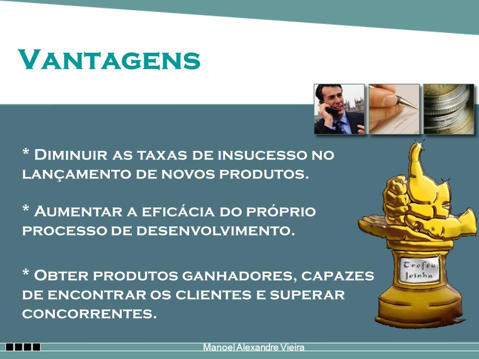 Manoel Alexandre Vieira Vantagens * Diminuir as taxas de insucesso no lançamento de novos produtos. * Aumentar a eficácia do próprio processo de desen