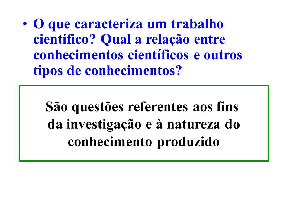 O que caracteriza um trabalho científico? Qual a relação entre conhecimentos científicos e outros tipos de conhecimentos? São questões referentes aos