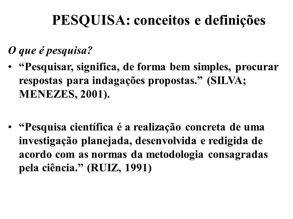 PESQUISA: conceitos e definições O que é pesquisa? Pesquisar, significa, de forma bem simples, procurar respostas para indagações propostas. (SILVA; M