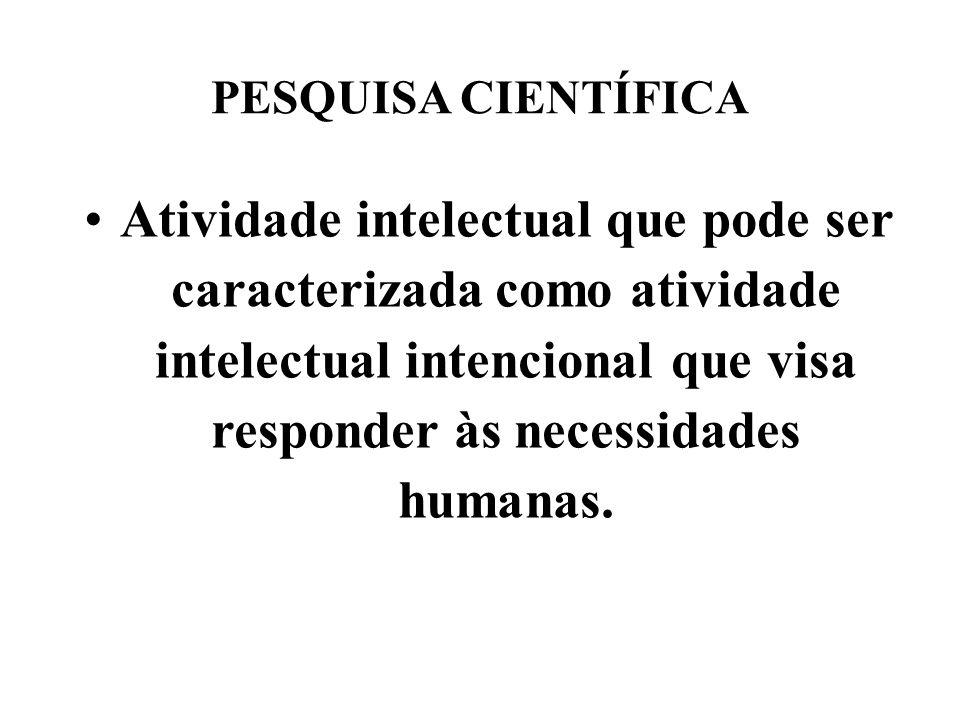 PESQUISA CIENTÍFICA Atividade intelectual que pode ser caracterizada como atividade intelectual intencional que visa responder às necessidades humanas