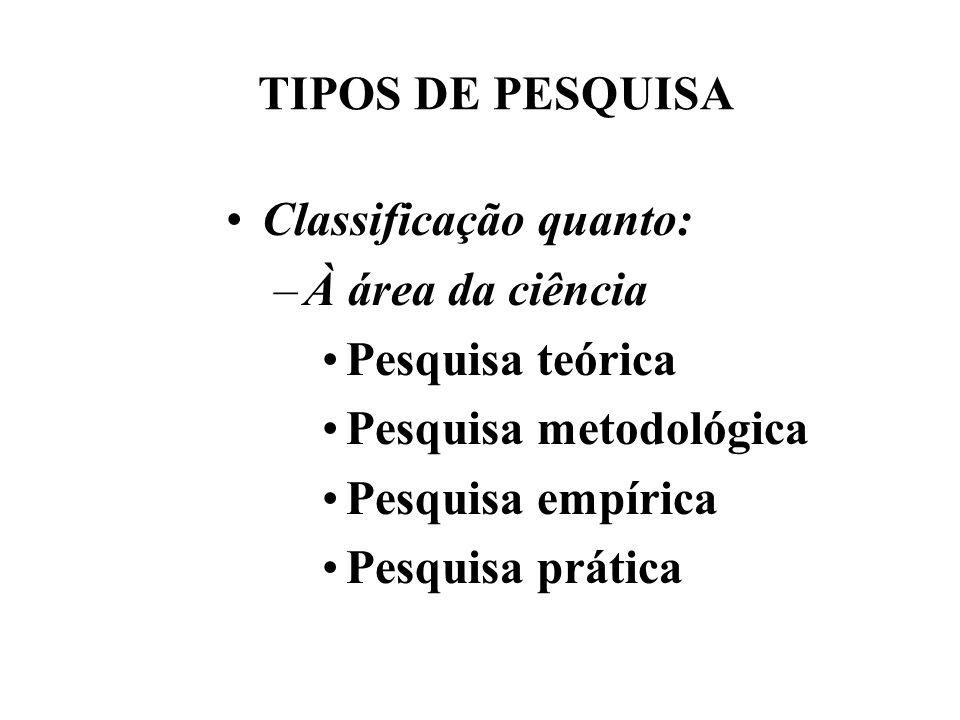 TIPOS DE PESQUISA Classificação quanto: –À área da ciência Pesquisa teórica Pesquisa metodológica Pesquisa empírica Pesquisa prática