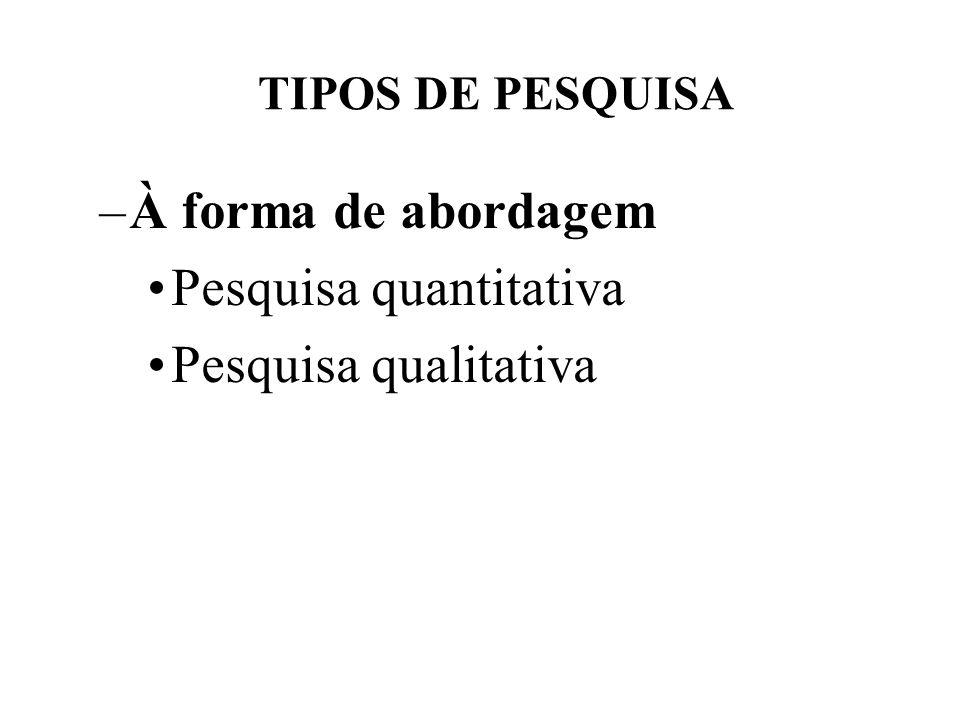 TIPOS DE PESQUISA –À forma de abordagem Pesquisa quantitativa Pesquisa qualitativa