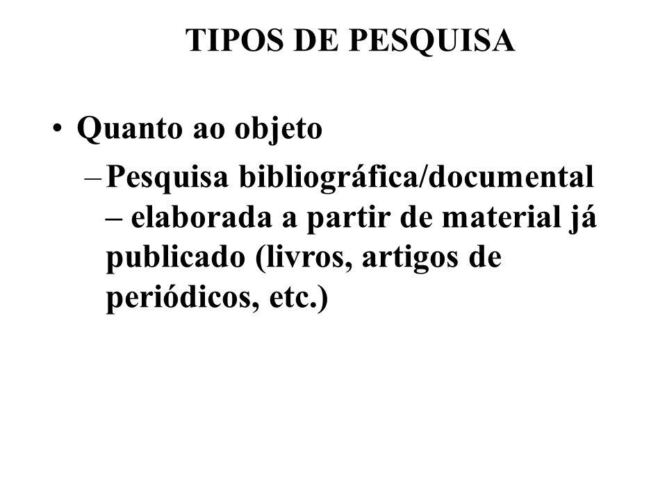 TIPOS DE PESQUISA Quanto ao objeto –Pesquisa bibliográfica/documental – elaborada a partir de material já publicado (livros, artigos de periódicos, et