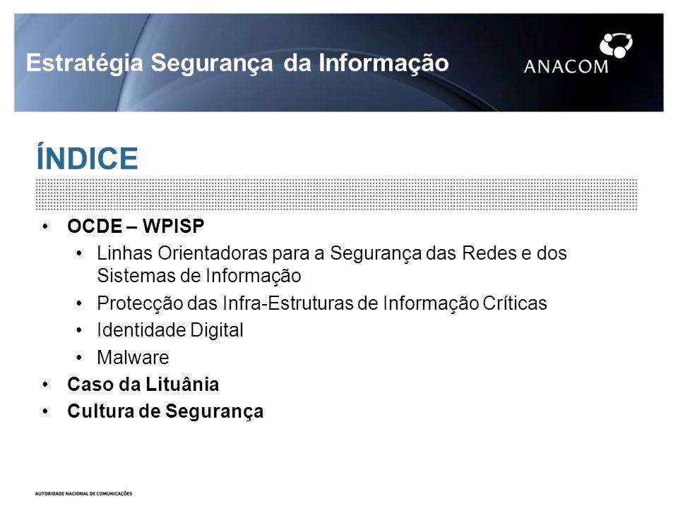 ÍNDICE Estratégia Segurança da Informação OCDE – WPISP Linhas Orientadoras para a Segurança das Redes e dos Sistemas de Informação Protecção das Infra-Estruturas de Informação Críticas Identidade Digital Malware Caso da Lituânia Cultura de Segurança