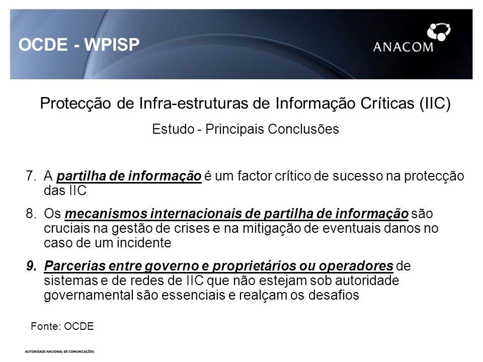 OCDE - WPISP Protecção de Infra-estruturas de Informação Críticas (IIC) Estudo - Principais Conclusões 7.A partilha de informação é um factor crítico de sucesso na protecção das IIC 8.Os mecanismos internacionais de partilha de informação são cruciais na gestão de crises e na mitigação de eventuais danos no caso de um incidente 9.Parcerias entre governo e proprietários ou operadores de sistemas e de redes de IIC que não estejam sob autoridade governamental são essenciais e realçam os desafios Fonte: OCDE