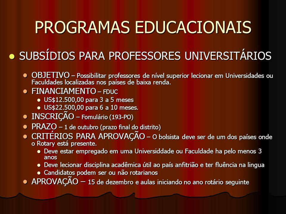 PROGRAMAS EDUCACIONAIS SUBSÍDIOS PARA PROFESSORES UNIVERSITÁRIOS SUBSÍDIOS PARA PROFESSORES UNIVERSITÁRIOS OBJETIVO – Possibilitar professores de níve