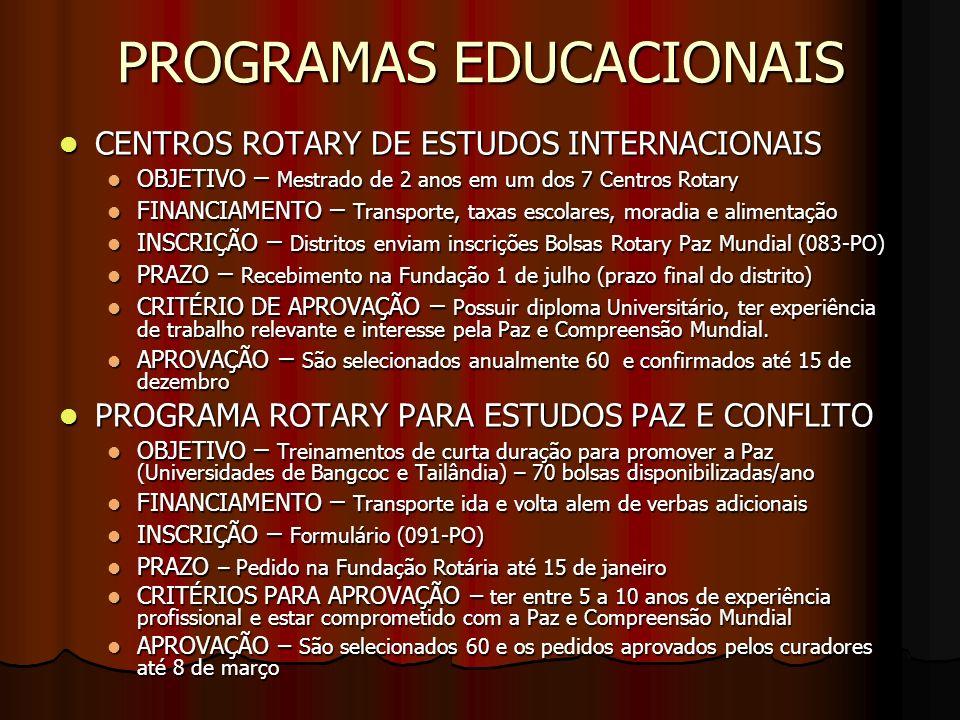 PROGRAMAS EDUCACIONAIS CENTROS ROTARY DE ESTUDOS INTERNACIONAIS CENTROS ROTARY DE ESTUDOS INTERNACIONAIS OBJETIVO – Mestrado de 2 anos em um dos 7 Cen