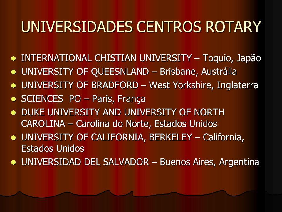 UNIVERSIDADES CENTROS ROTARY INTERNATIONAL CHISTIAN UNIVERSITY – Toquio, Japão INTERNATIONAL CHISTIAN UNIVERSITY – Toquio, Japão UNIVERSITY OF QUEESNL