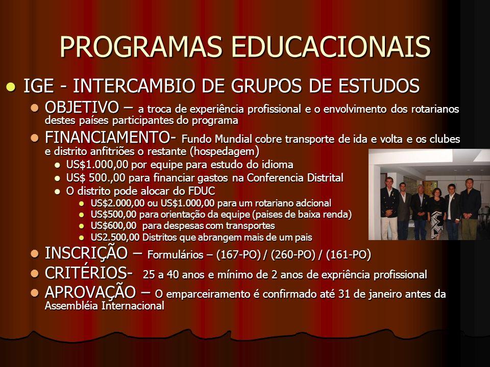 PROGRAMAS EDUCACIONAIS IGE - INTERCAMBIO DE GRUPOS DE ESTUDOS IGE - INTERCAMBIO DE GRUPOS DE ESTUDOS OBJETIVO – a troca de experiência profissional e