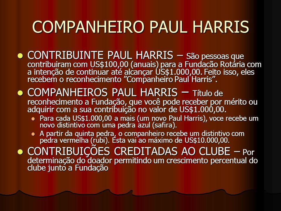 COMPANHEIRO PAUL HARRIS CONTRIBUINTE PAUL HARRIS – São pessoas que contribuiram com US$100,00 (anuais) para a Fundacão Rotária com a intenção de conti