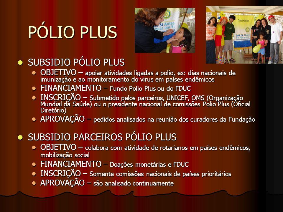 PÓLIO PLUS SUBSIDIO PÓLIO PLUS SUBSIDIO PÓLIO PLUS OBJETIVO – apoiar atividades ligadas a polio, ex: dias nacionais de imunização e ao monitoramento d