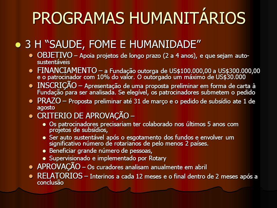 PROGRAMAS HUMANITÁRIOS SUBSÍDIOS EQUIVALENTES SUBSÍDIOS EQUIVALENTES OBJETIVO – apoio a projetos de prestação de serviços humanitários internacionais (mínimo entre 2 países) OBJETIVO – apoio a projetos de prestação de serviços humanitários internacionais (mínimo entre 2 países) FINANCIAMENTO – A Fundação equipara (de 1 para 1) a participação do FDUC, e para doações em dinheiro de parceiros ou dos clubes a metade (0,5 para cada 1) FINANCIAMENTO – A Fundação equipara (de 1 para 1) a participação do FDUC, e para doações em dinheiro de parceiros ou dos clubes a metade (0,5 para cada 1) INSCRIÇÃO – Submeter o formulário de pedido de Subsídios Equivalentes INSCRIÇÃO – Submeter o formulário de pedido de Subsídios Equivalentes PRAZO – Entre 1 de julho a 31 de março do ano seguinte (pedidos acima de US$25.000,00 são analisados pelos curadores reunião de out/nov, se recebidos até 1 de agosto.