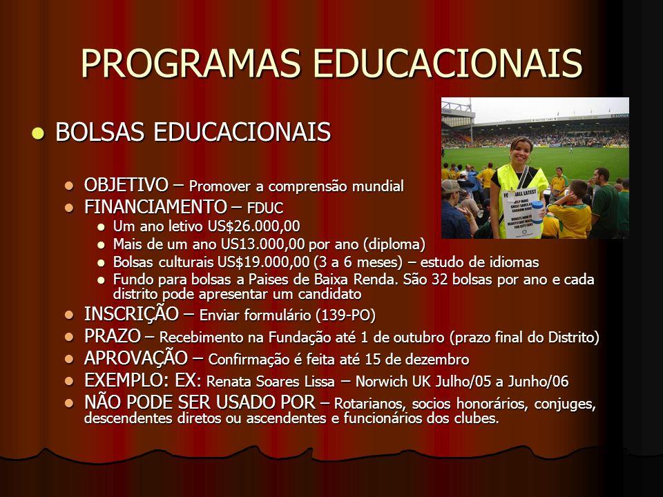 PROGRAMAS EDUCACIONAIS BOLSAS EDUCACIONAIS BOLSAS EDUCACIONAIS OBJETIVO – Promover a comprensão mundial OBJETIVO – Promover a comprensão mundial FINAN